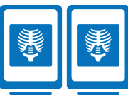 two mobile device icons with x-ray images being displayed