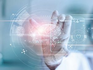 doctor controlling virtual health data